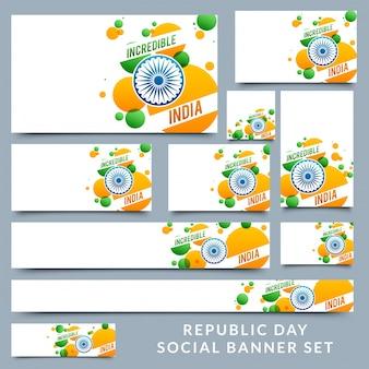 Bannières sociales avec la couleur du drapeau indien.
