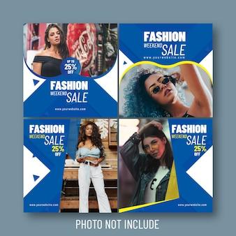 Bannières sociales et web de vente de mode