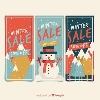 Bannières de soldes d'hiver