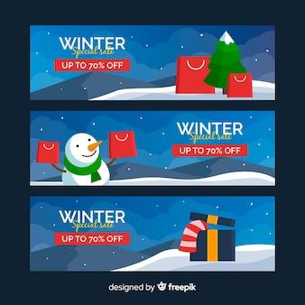 Bannières de soldes spéciales d'hiver