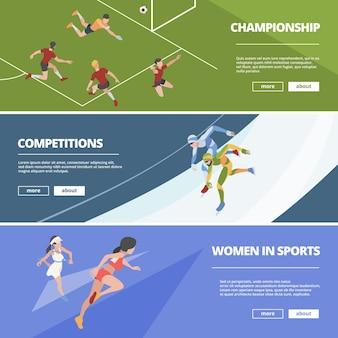 Bannières de sport. les athlètes des jeux olympiques en action posent des personnages isométriques.