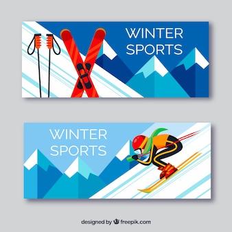 Bannières de sport d'hiver plat