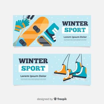 Bannières de sports d'hiver