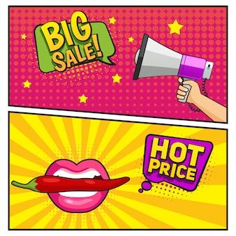Bannières de style bande dessinée de grande vente