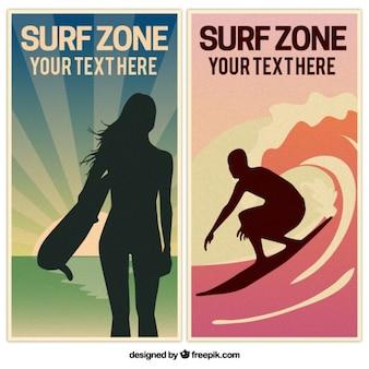Bannières de surf vintage avec des silhouettes