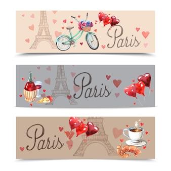 Bannières de symboles aquarelle de paris