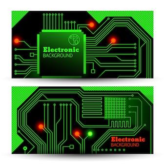 Bannières de tableau électrique dans des couleurs vertes