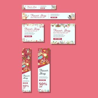 Bannières de taille standard avec une illustration de jolie fleur pour une boutique de fleurs