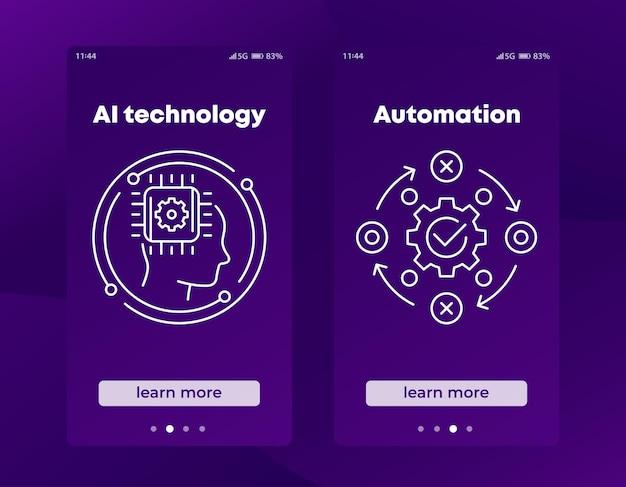 Bannières de technologie et d'automatisation d'ia