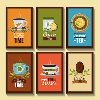 Bannières de temps de café et de thé