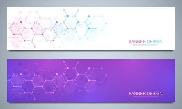 Bannières et en-têtes avec des structures moléculaires