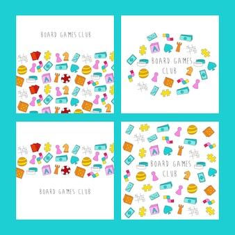 Bannières de texte de club de jeux de société style de dessin animé coloré de communauté de jeu de société