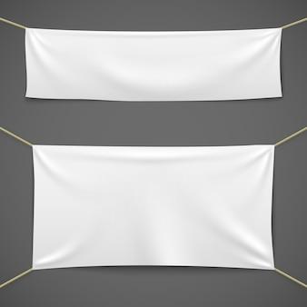 Bannières textiles blanches. drapeau de tissu vierge suspendu à la vente de ruban de vente