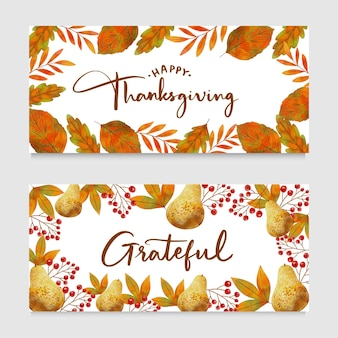 Bannières de thanksgiving aquarelle design