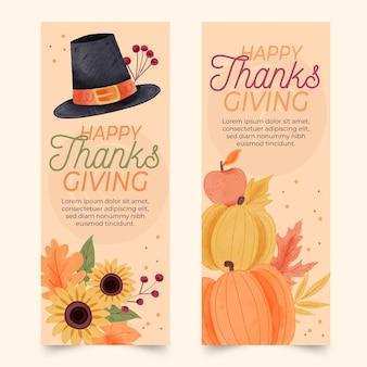 Bannières de thanksgiving aquarelle design