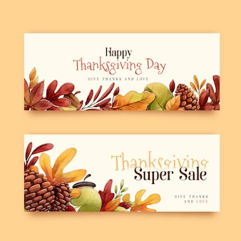 Bannières de thanksgiving aquarelle