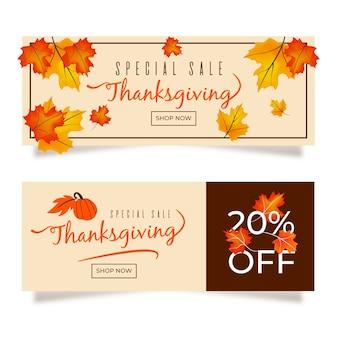 Bannières de thanksgiving colorées au design plat