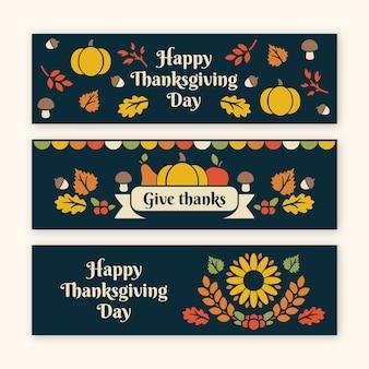 Bannières de thanksgiving avec un design coloré