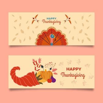 Bannières de thanksgiving design plat