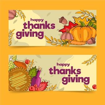 Bannières de thanksgiving dessinées à la main