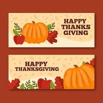 Bannières de thanksgiving dessinés à la main avec citrouille et feuilles