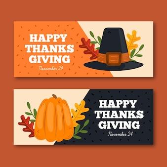 Bannières de thanksgiving dessinés à la main avec citrouille