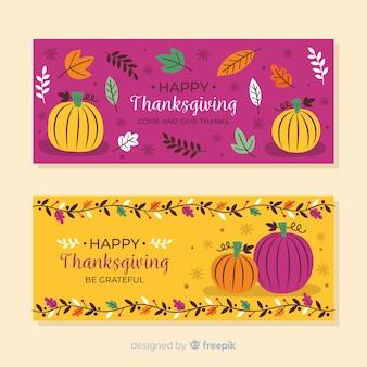 Bannières de thanksgiving dessinés à la main avec des citrouilles