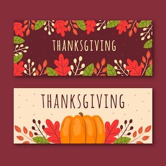 Bannières de thanksgiving dessinés à la main avec les feuilles de l'automne