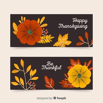 Bannières de thanksgiving dessinés à la main avec des fleurs
