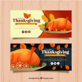 Bannières de thanksgiving avec dinde aquarelle