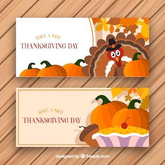 Bannières de thanksgiving avec dinde et citrouilles
