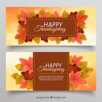 Bannières de thanksgiving avec des feuilles