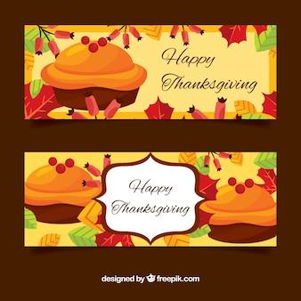 Bannières de thanksgiving avec des gâteaux