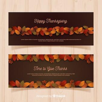 Bannières de thanksgiving réalistes