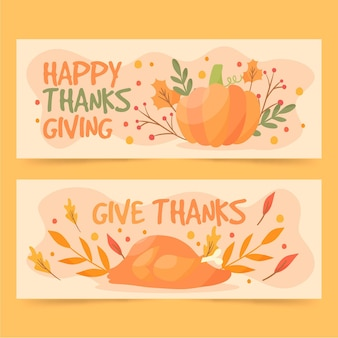 Bannières de thanksgiving de style dessiné à la main