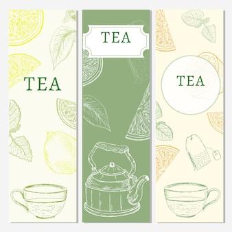 Bannières de thé, éléments dessinés à la main
