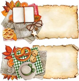 Bannières sur le thème de l'automne à l'aquarelle avec parchemin vintage et articles confortables