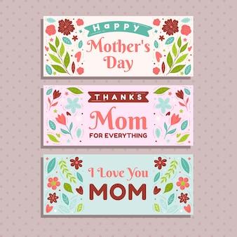 Bannières avec thème de la fête des mères