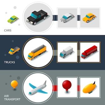 Bannières de transport isométriques