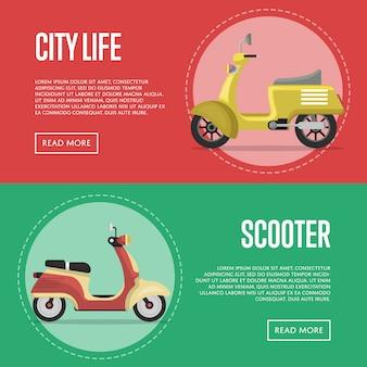 Bannières de transport urbain compactes avec des cyclomoteurs classiques