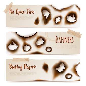 Bannières de trous de papier brûlés