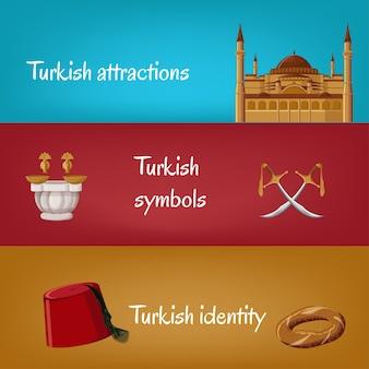 Bannières turques avec fez, simit, épées, hammam, hagia sophia.