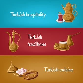 Bannières turques avec théière