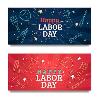 Bannières usa de la fête du travail dessinés à la main