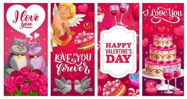 Bannières de vacances saint valentin avec cadeaux, coeurs d'amour et bouquets de fleurs