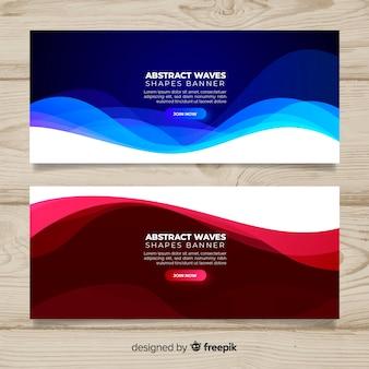 Bannières de vagues abstraites