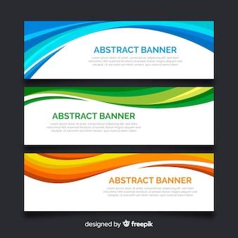 Bannières vagues colorées abstraites