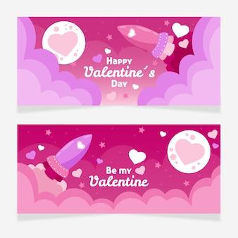 Bannières de valentine mignon dessinés à la main