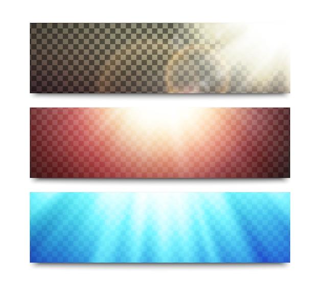 Bannières de vecteur avec effets de lumière transparents