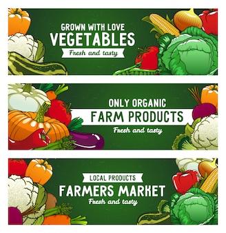 Bannières de vecteur de légumes, aliments à la ferme, légumes crus